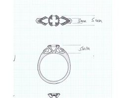 unique three stone engagement ring drawing