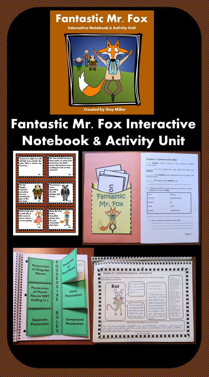 Fantastic Mr. Fox Interactive Notebook and Activity Unit has everything you need for a great novel study! $