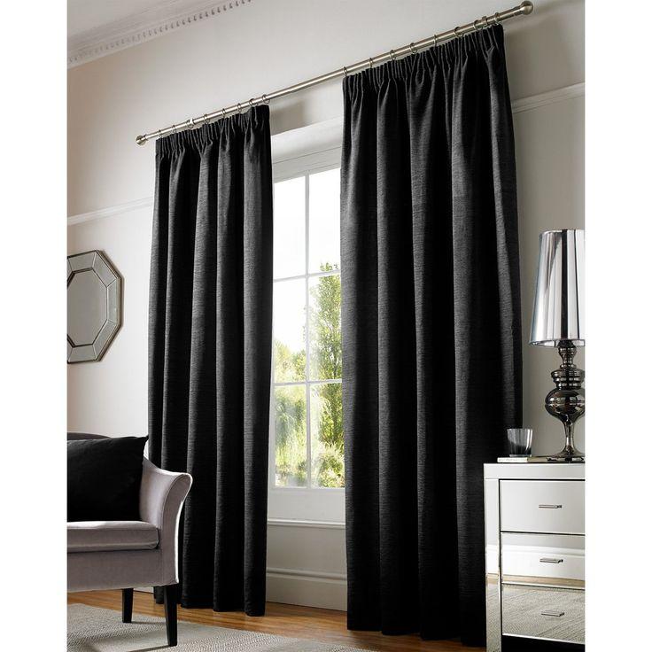 Chenille Plain Pencil Pleat Curtains, Black – PASX UK