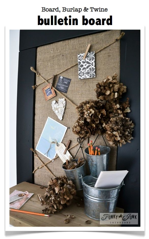 A board, burlap and twine bulletin board. Cost? $2 for the sand bag! via Funky Junk Interiors #junk #burlap #distressed