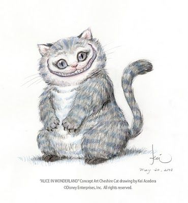 """""""Cheshire the Cat"""" from Tim Burton's """"Alice in Wonderland""""   ~~   Concept Art by Artist ~Kei Acedera~  May 30 2008"""