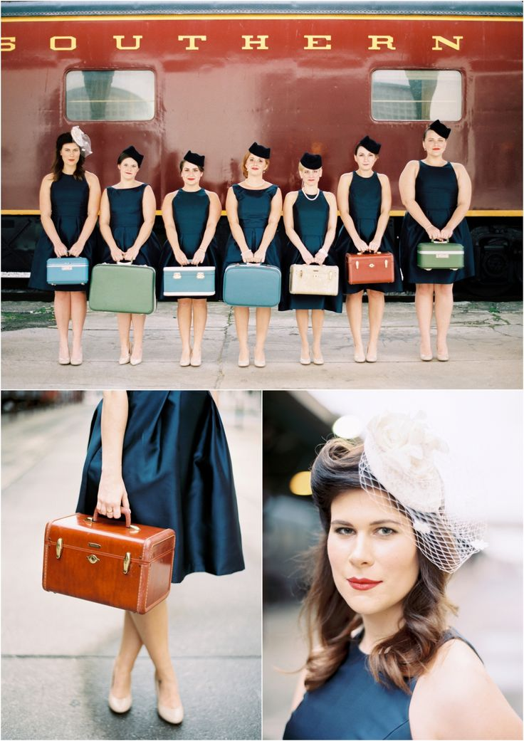 Perfect idea for the bridesmaids in a travel themed wedding! Vintage suitcases and navy dresses and hats.