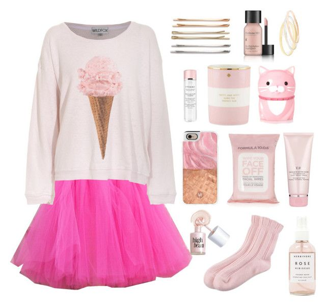 """Pink mood"" by apostaleksa on Polyvore featuring мода, Wildfox, Falke, Herbivore Botanicals, Topshop, Benefit, By Terry, Kate Spade, Forever 21 и Cara"