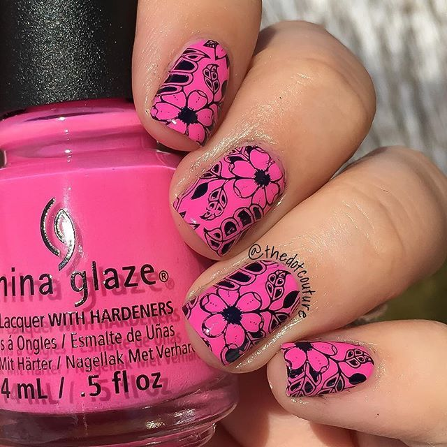 234 best stamping images on pinterest stamping html and polish neon pink and black stamped nail art chinaglazeofficial glow with the flow bornprettystore prinsesfo Images