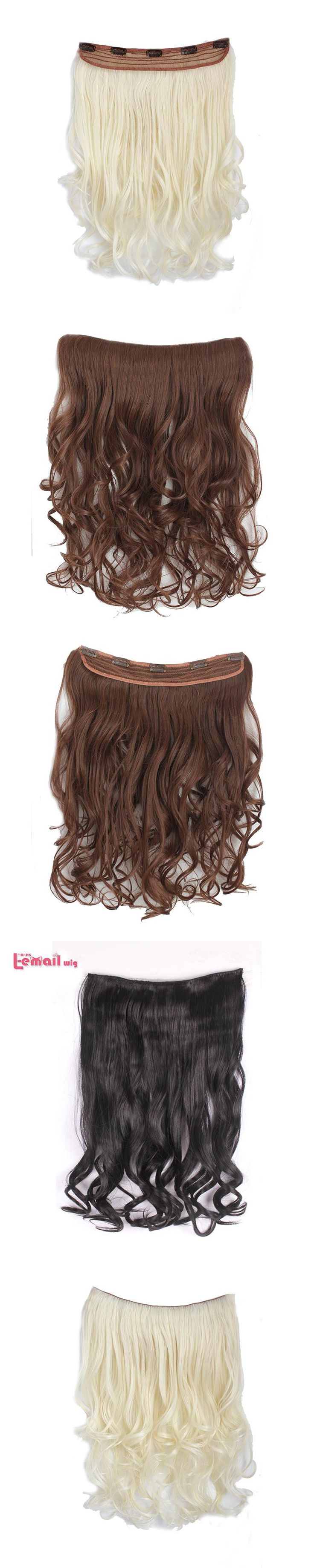 L-email wig 40cm Medium Loose Wavy Black Beige and Light Brown Synthetic Hair Extensions Clip-in One Piece Hair Extensions