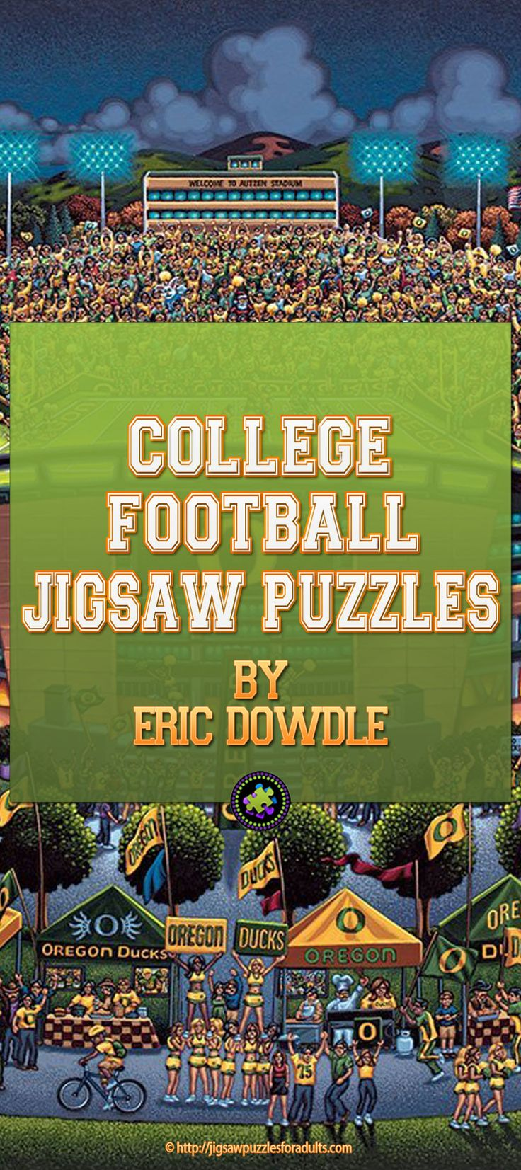 These College Football Jigsaw Puzzles by Eric Dowdle would make the BEST holiday gifts for anyone who loves football and can't get enough during the football season.Whether you are a College Football fan, or you just root for the home team, or you are a collector of College Sports memorabilia you won't want to miss these College Football Jigsaw puzzles.