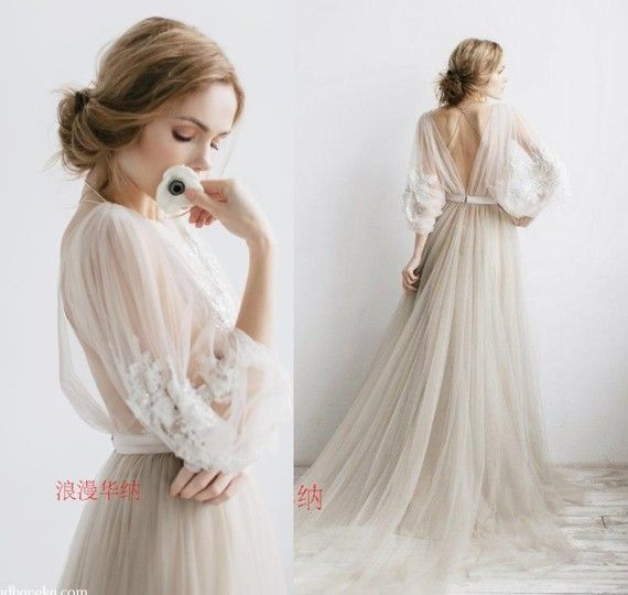 Wedding dress 2017 new small trailing word shoulder Europe and the United States bride married close waist Slim fountain princess