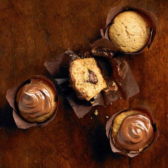 Who'd like a Chocolate-Filled Sweet Potato Cupcake? More cupcake recipes: http://www.bhg.com/recipes/desserts/cupcakes/our-best-cupcake-recipes/