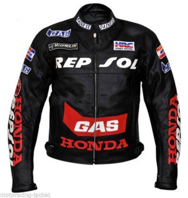 Black Honda Repsol GAS Motorcycle Racing HRC Handmade Genuine Leather Jacket
