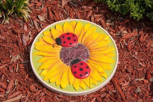 Floral Brights Ladybug Sunflower Stepping Stone by Outdoor Decor. $28.99. An excellent gift for the gardener in your life!. Treated with a safe-to-touch finish for protection against sun and weather. With our excellent production of high quality materials, these stones look so much like real garden rocks. Hand-painted for extremely realistic detail. Beautiful garden stone made with a new combination of resin for longer lasting color and protection. Celebrate your garden with beau...