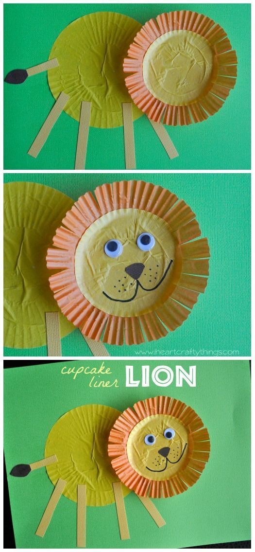 Lion Craft for Kids made from cupcake liners. Great alphabet craft the letter L or a zoo theme. from iheartcraftythings.com