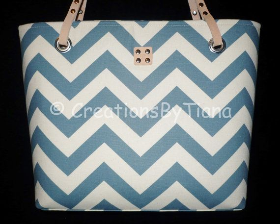 Chevron Purses - Denim Blue Chevron - Purse - bag - Handmade - Handbag - Leather handles