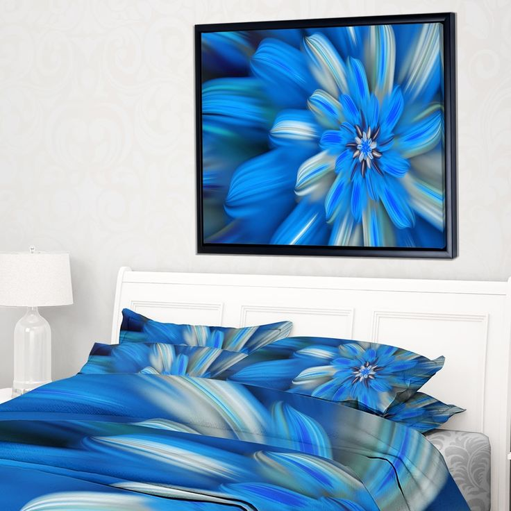 Designart 'Exotic Dance of Blue Flower Petals' Floral Framed Canvas Art Print
