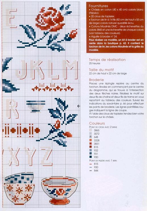 """cross stitch De fil en aiguille """"Vaiselle aux pivoines"""" by V. Enginger Digoin flowers 2 with colour key"""