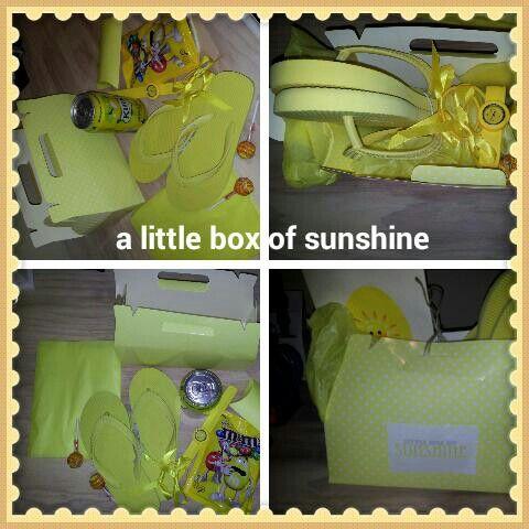 Little box of Sunshine.  Gift,  yellow present,  fun suprise, birthday and celebration gifts.