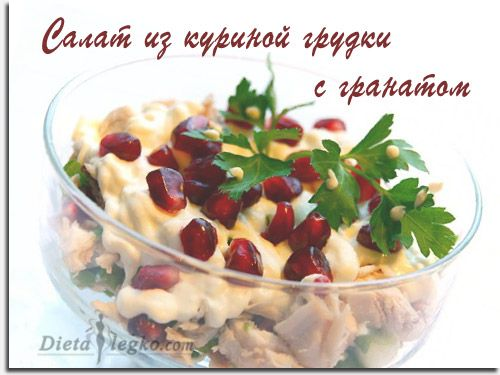 рецепт - салат из куриной грудки с гранатом