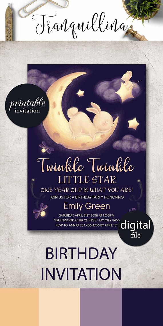 birthday party invitations printable%0A Twinkle Twinkle Little Star Birthday Invitation Printable  starry nigh   Stars birthday invitation for boys