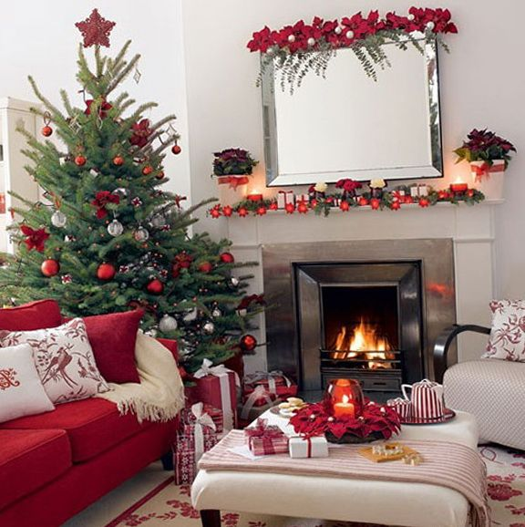 Beautiful Red And White Christmas Living Room Festive