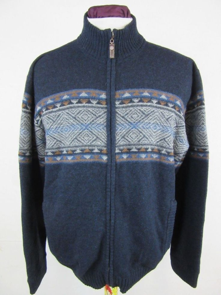 Timberland Zip Up Cardigan Knitwear Dark Blue Aztec Lambswool Size XXLarge
