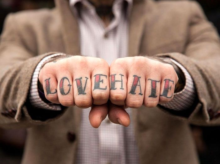 Love Hate Both Hands Knuckle Tattoo For Men