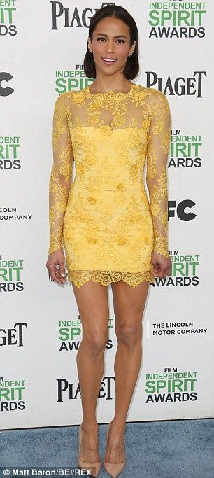 Paula Patton donned a canary yellow dress for the  2014 Film Independent Spirit Awards on Saturday.