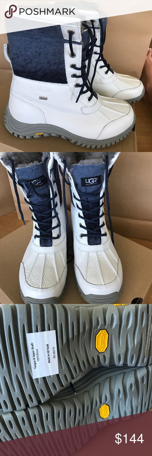 Ugg adirondack II in white size 9.5 Beautiful UGG adirondack boots are waterproof and weather rated for up to -20c. Beautiful white leather and blue detail, come with extra laces. New with box UGG Shoes Winter & Rain Boots