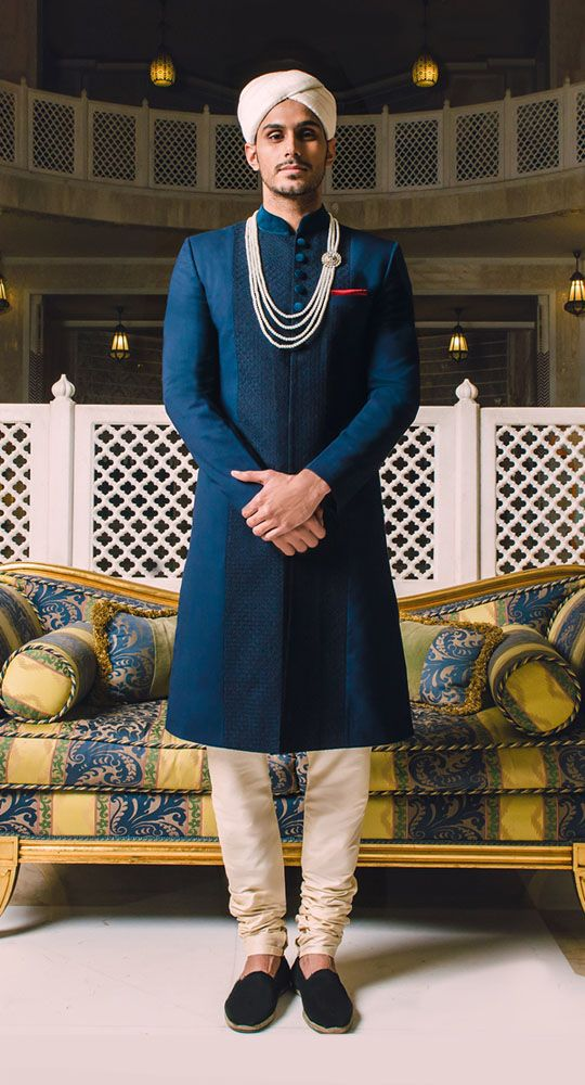 Navy Couture Sherwani with velvet buttons