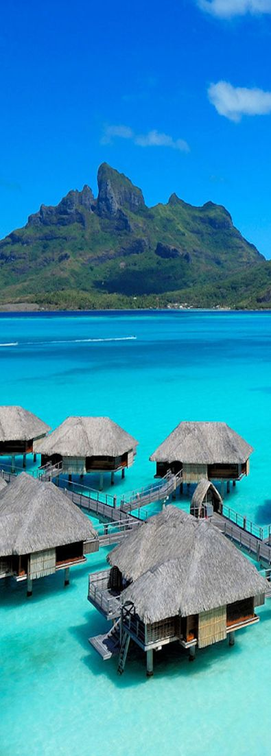 Four Season Resort on Bora Bora. Love the overwater bungalows for a snorkeling or scuba diving vacation at the beach!
