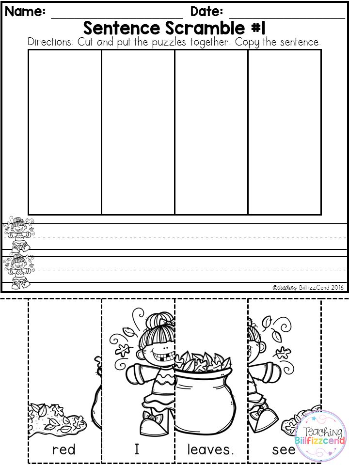 Kindergarten Writing Station  These are great for beginning readers in kindergarten to practice building sentences. They are perfect for literacy centers, daily morning work. These are specifically designed for beginning writers and beginning readers.  Inside you will find 2 sample picture sentence scramble pages.
