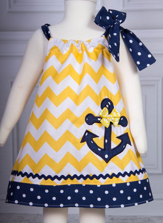 Super Cute Chevron Anchor applique Dress Yellow and Navy polka dot on Etsy, $25.00