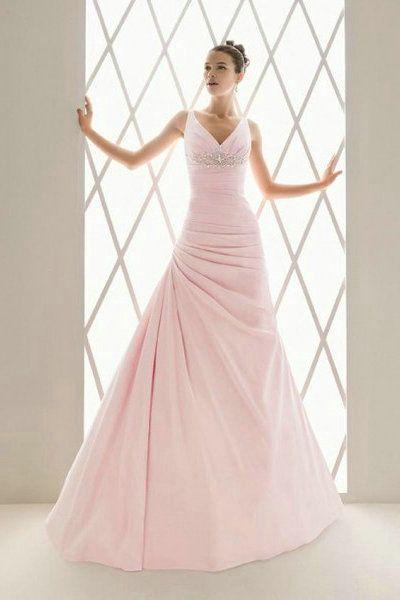 elegant ruched flattering v neck straps floor length beaded wedding dress onsalecolorful wedding dresses