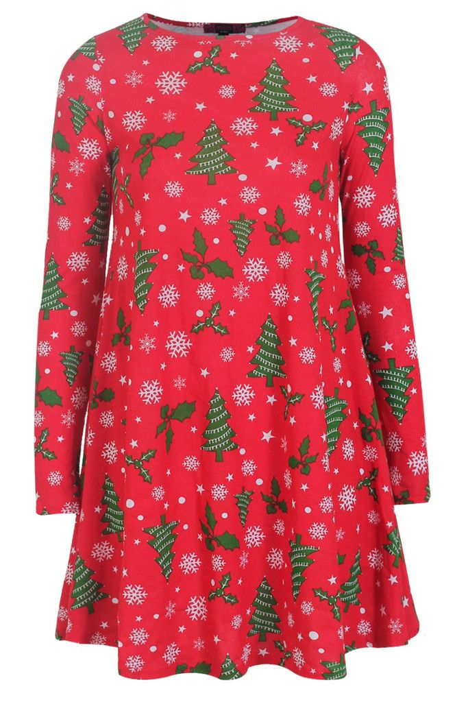 60f555d21f8eb Christmas Tree Printed Swing Dress | WOMEN'S DRESSES | Christmas ...