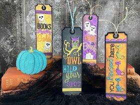 The Sizzix Alterations die set Mini Halloween Things by Tim Holtz, gave me an idea for making bookmarks for Halloween.  In this day and a...