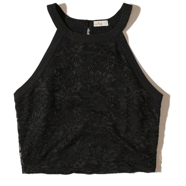 Hollister High-Neck Lace Crop Top ($17) ❤ liked on Polyvore featuring tops, crop tops, shirts, crops, tank tops, black, stretch lace top, lacy tops, shirt top and crop top