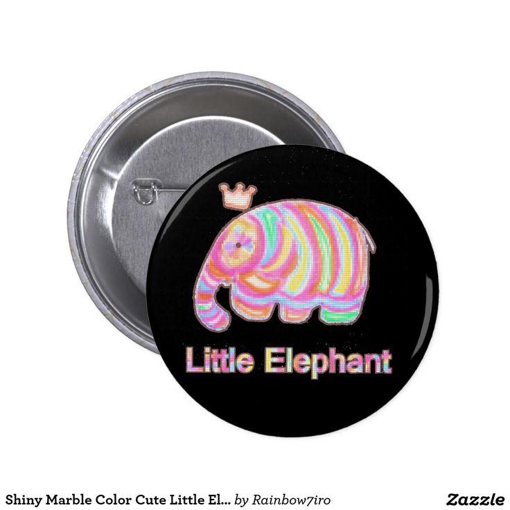 Shiny Marble Color Cute Little Elaphant Pinback Button