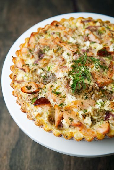 smoked salmon goat cheese artichoke quiche | use real butter