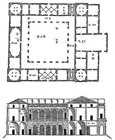 Andrea Palladio (probably following a previous design by Giulio Romano): Palazzo Thiene, 1542, Vicenza, Italy; plan and section from Palladio's 'Quattro Libri dell'Architettura'
