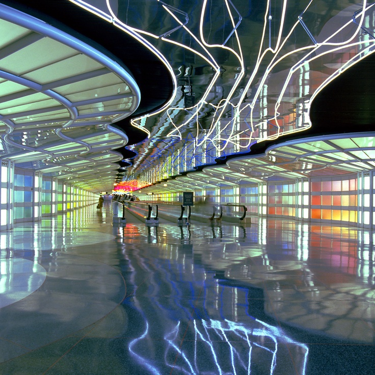 The United Airlines underground walkway at O'hare airport. Designed by Helmut Jahn. Photograph by Martin Konopacki