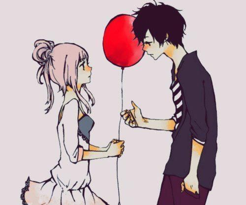 anime, anime boy, anime girl, couple, cute, kawaii, love, manga
