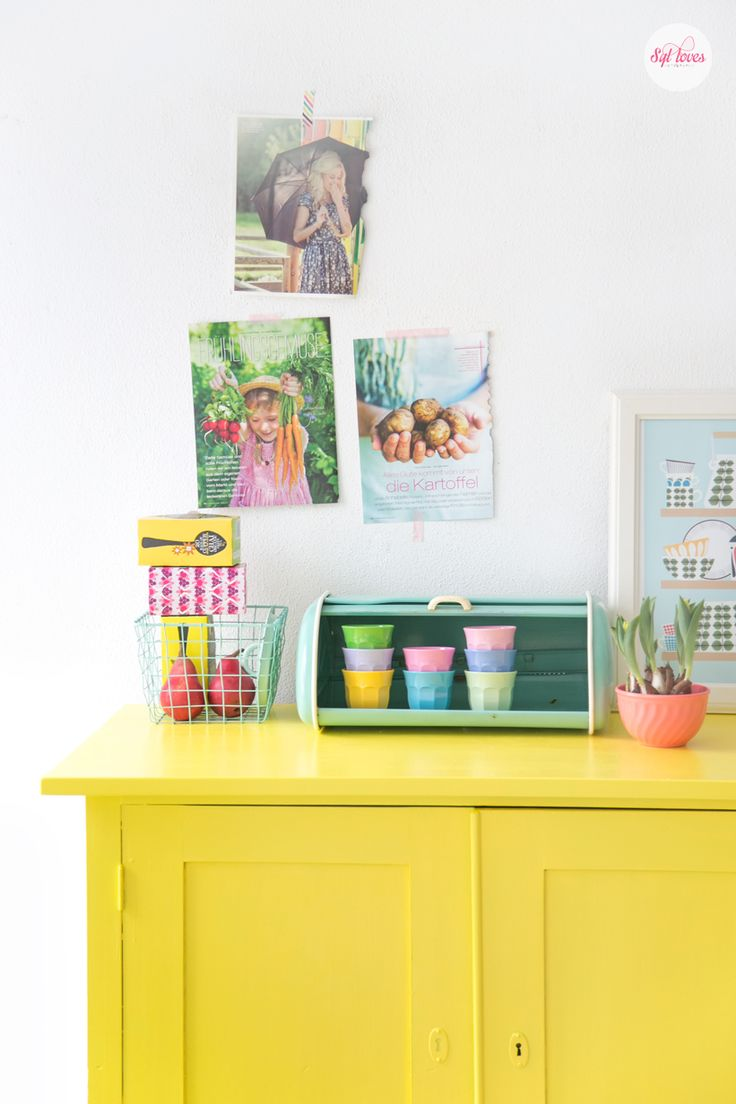 Hello yellow, I have repainted my green cabinet to yello, totally love the juicy, happy colours, yellow mixed with pastels looks great too! #sylloves, #yellow
