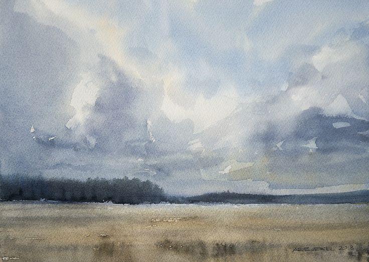 Arie Jekel | Showers on crop fields | Watercolor