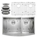 Handcrafted All-in-1 Farmhouse Apron Front Stainless Steel (Silver) 33 in. Double Basin Kitchen Sink