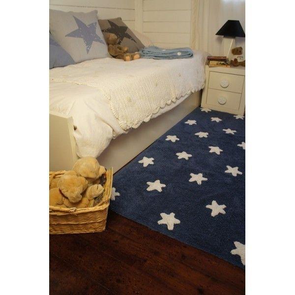 Tappeto lavabile blu con stelline bianche Lorena Canals