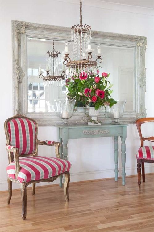 Console table chairs love the huge mirror weathered finish crystal chandelier