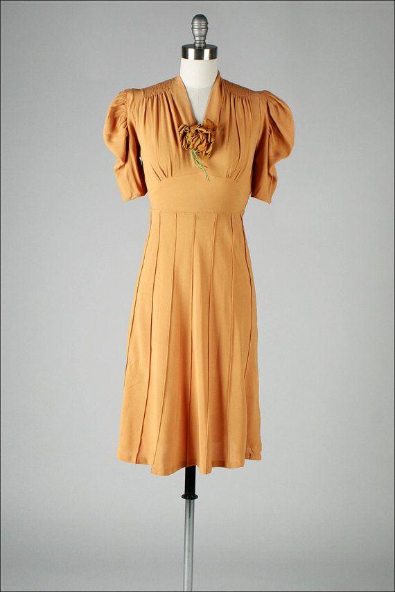 1940s dress . pumpkin rayon crepe