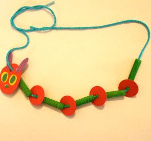 "Catchall Caterpillar Necklace | AllFreeKidsCrafts.com - something fun to make after reading ""Very Hungry Caterpillar""."