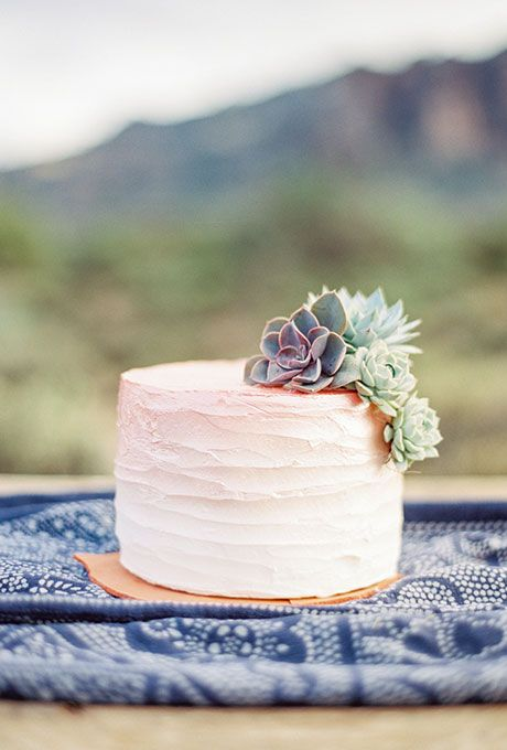 Brides.com: . A one-tier ombré frosted wedding cake decorated with fresh succulents, created by Sissy's Sweet Cakes.