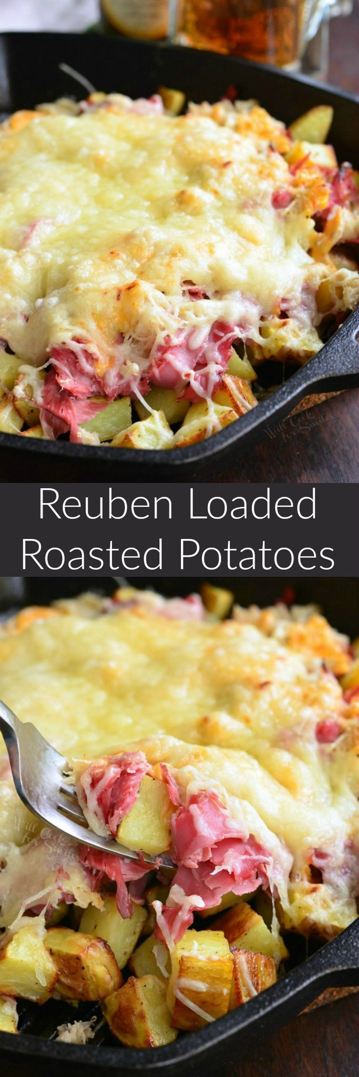 Reuben Loaded Roasted Potatoes. These golden potatoes are roasted and then loaded with corned beef, sauerkraut, thousand island dressing, and lots of Swiss cheese.