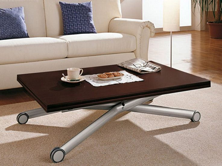Height-adjustable wooden coffee table with casters ESPRIT by DOMITALIA design Giorgio Del Piero