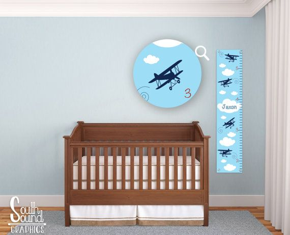 Growth Chart for Boys - Kids Room Wall Decor - Biplane Custom Wall Hanging - Children's Personalized Growth Chart - Kids Airplane Bedroom